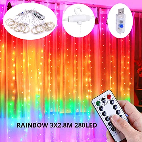 XKMY LED Garden String Lights 3M Rainbow Curtain Light LED String Garland Fairy Icicle Decorative Lights for Christmas Party Bedroom Wall Wedding Window Decor (Emitting Color : Rainbow 3x2.8M)