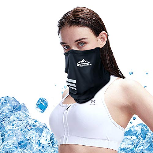 PORTHOLIC Face Scarf Mask for Men Women, Neck Gaiter for Anti Dust Wind UV Sun Protection, UPF 50+ Adjustable Black Face Cover Bandana Balaclava for Outdoors Sports Hiking Fishing Cycling Running