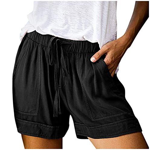 KUDICO Damen Shorts Sommer Strand Kurze Hosen Tunnelzug Elastische Stoffhose Solide Yoga Sweatpants Laufshorts mit Taschen Große Größen(Schwarz,XL)