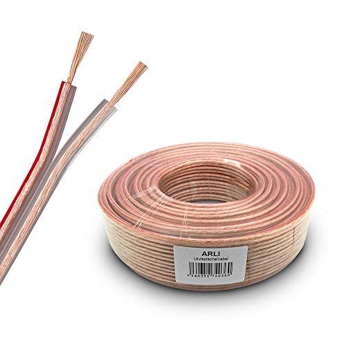 Lautsprecherkabel 50m 2x2,5 mm² Lautsprecher Kabel transparent Boxenkabel Polaritätskennzeichnung 50 m 2 x 2,5mm CCA Kupfer Boxen ARLI