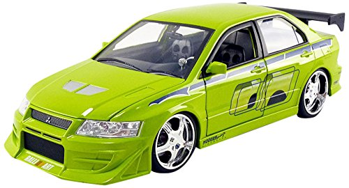 Jada Toys–Miniatur Auto Mitsubishi Lancer Evo VII Brian Fast and Furious Maßstab 1/24, 99788G, grün