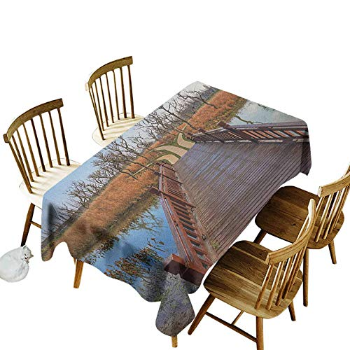 Countryside Easy Care Dinning Table Cover Wetland in Kunming Deck Tourism Travel Clear Sky Hiking Fall Scene Indoor Outdoor Spring Summer Party Picnic Camping 55x86