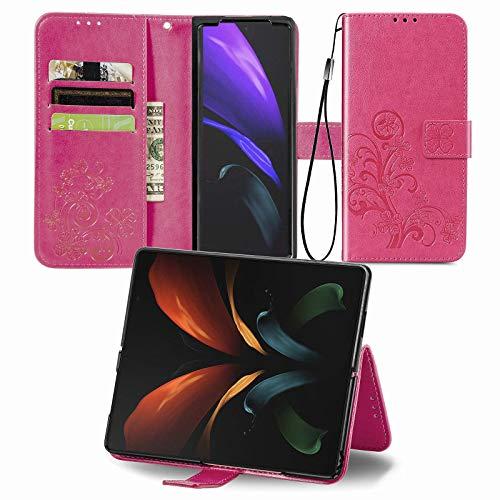 Larook Funda para iPhone 8, diseño de mariposas, estilo cartera con función atril y carcasa magnética de poliuretano para iPhone 8, color rojo