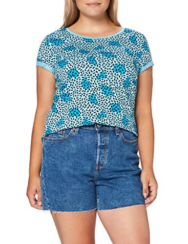 edc by ESPRIT Damen 040CC1K325 T-Shirt, 470/TURQUOISE, XL