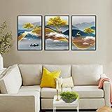 Cuadros de pared 3 piezas 50x70cm Sin marco Arte dorado Cuadro de pared Arte Estético Decoración de la habitación Imprimir cartel para sala de estar Decoración del hogar Pintura abstracta de ciervos