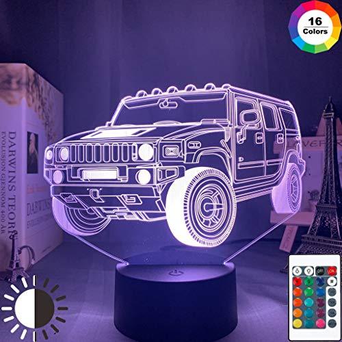 Auto SUV Fahrzeug Acryl Nachtlicht 3D LED Tischlampe Kinder Geburtstagsgeschenk Nachtzimmer Dekoration