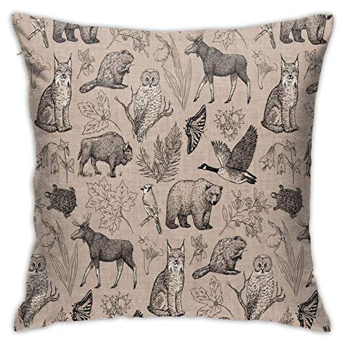Funda de almohada, diseño de vida silvestre canadiense moderno funda de cojín cuadrada decoración para sofá, cama, silla, coche, 45,7 x 45,7 cm