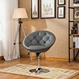 Roundhill Furniture Noas Contemporary Round Tufted Back Tilt Swiviel Accent Chair, Gray