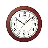 Casio Iq-126-5 Wall Clock with 10 Inches Thinline Quartz Marron Wood Frame and Beige Dial Battery Included Limited...