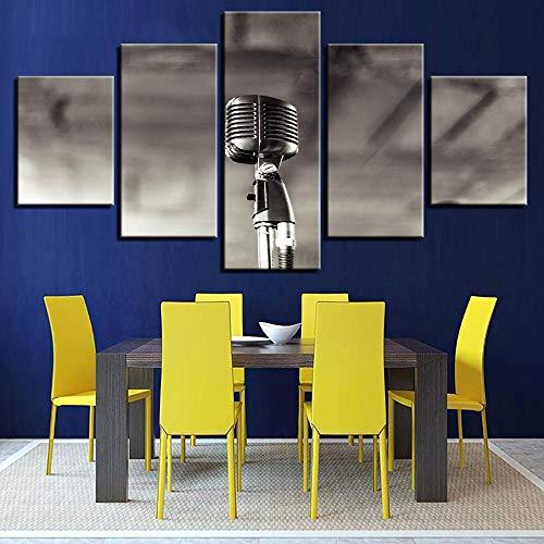 Modulair HD-bedrukt canvas, schilderkunst, 5 panelen, muziek, microfoon, fotolijst, decoratie thuis, modern, woonkamer 4×6/8/10inch Met frame