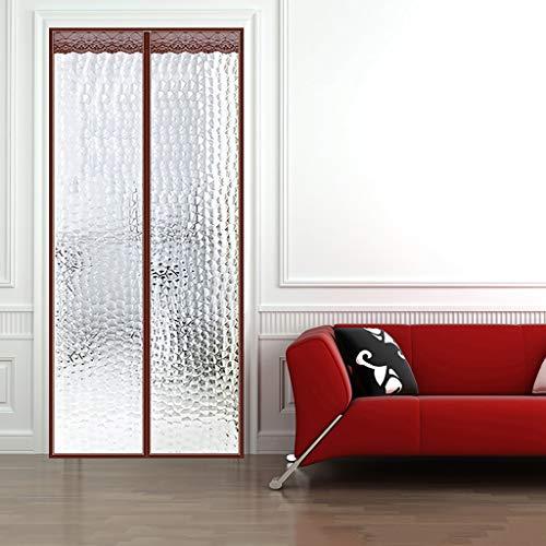 HMHD Wärmeschutzvorhang für Tür, Winddicht Gegen kalte Zugluft Magnetisch Gitter Tür Ohne Bohren Zusammenklappbar, für Patio Tür Schlafzimmer -Brown-80x200CM