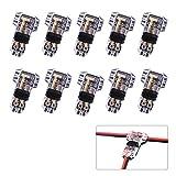Conectores de cable T de 10 paquetes, Fancibuy Conectores eléctricos de bajo voltaje T / Dual / 2 vías, Sin soldadura, Empalme rápido, Rock Solid Performance, Se ajusta al cable eléctrico 0,2-0,5mm²
