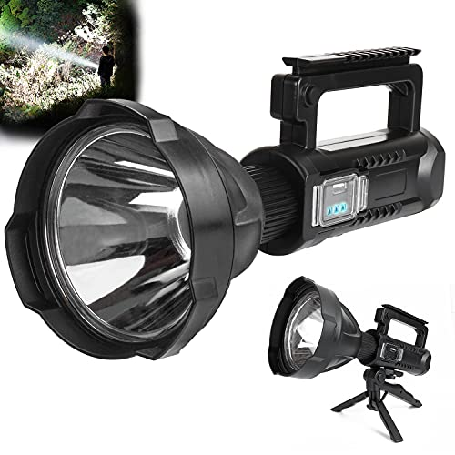 Rechargeable Spotlight Flashlight 90000 High Lumens Handheld, Super Bright LED Flashlight for Emergencies, 4 Modes Waterproof Searchlight Spotlight for Hunting, Hiking, Camping with Tripod