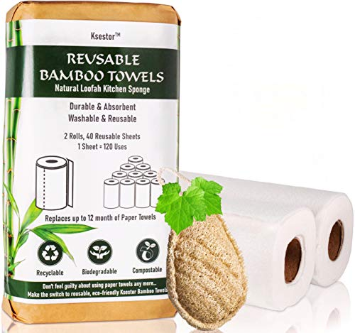 Bamboo Paper Towels - 2 Rolls - 1 Year Supply - Plant Based Dish Scrubber - Reusable Paper Towels - Unpaper Towels - Eco Friendly Products