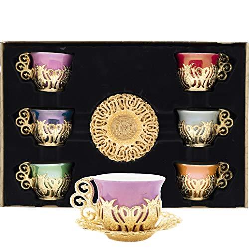 Alisveristime 12-teiliges Set aus türkischen, griechischen, arabischen Kaffee-Espressotassen und Untertassen aus Porzellan, verschiedene Farben