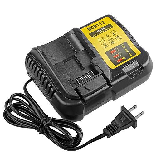 DCB112 12V 20V MAX Lithium Ion Battery Charger for Dewalt DCB206 DCB205 DCB204 DCB203 DCB201 DCB200 DCB120 DCB127 DCB230, Replace for DCB107 DCB105 DCB101 DCB115