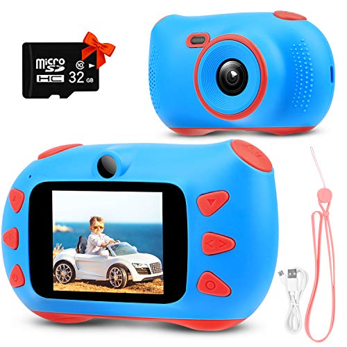 RUMIA Kinderkamera Fotoapparat Kinder Digital Video Camcorder Mit 2.0 Inch IPS Bildschirm, 18 Mega Pixels,1080P HD, 32G TF Karte und USB Wiederaufladbarer Videorecorder für Kinder (Blau)