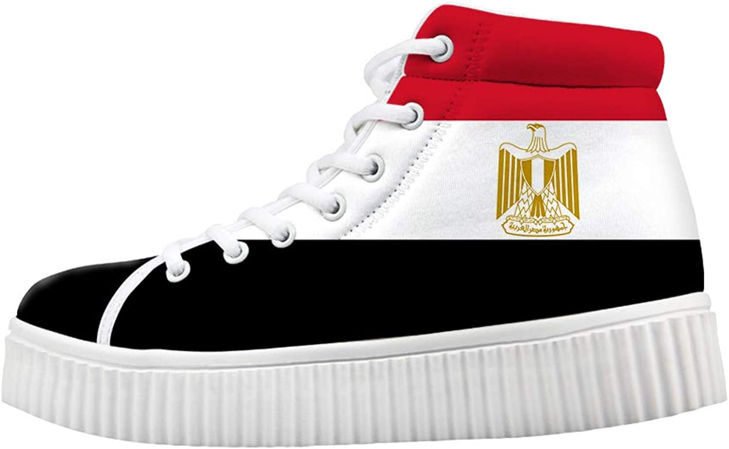 Owaheson Platform Lace up Sneaker Casual Chunky Walking shoes Women Egypt Flag