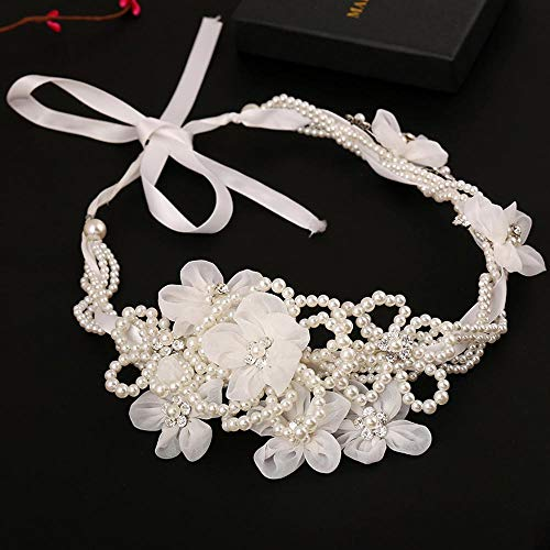 Littlefairy Braut Haarschmuck,Weiße Haare Band Haar Kristall Perlen große Blumen Schmuck Bridal Disc