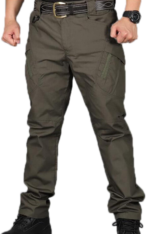 Mens Tactical Pants Outdoor Multi Pocket Wear-Resistant Cargo Tr