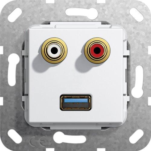 Gira 569003 USB 3.0 A, Cinch Audio Gender Changer Einsatz, reinweiß