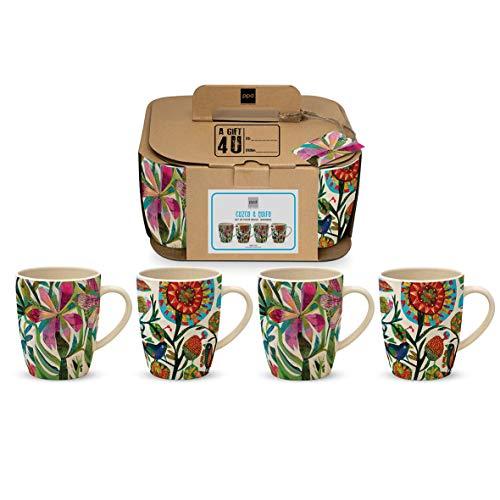CasaJame Cocina Cubertería Vajilla Mug Juegos x 4 Tazas Grandes en Bambú Ecológico para Café Té de Hierbas Motivo Frenesí de Flores Multicolores