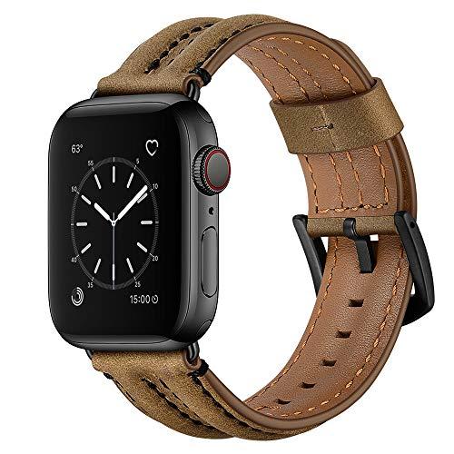 AISPORTS Compatible con Apple Watch Correa de piel de 40 mm y 38 mm para mujeres y hombres, resistente y suave, transpirable, correa de repuesto para Apple Watch SE/iWatch Series 6/5/4/3/2/1