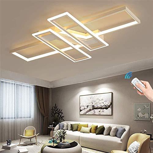 Rechteckige LED-Deckenleuchte Einfaches Wohnzimmer Moderne Deckenleuchte Schlafzimmer Aluminium Acryl Durchgehend dimmbar mit Fernbedienung Dimmen, Schwarz/Weiß, 90cm,Weiß,120cm