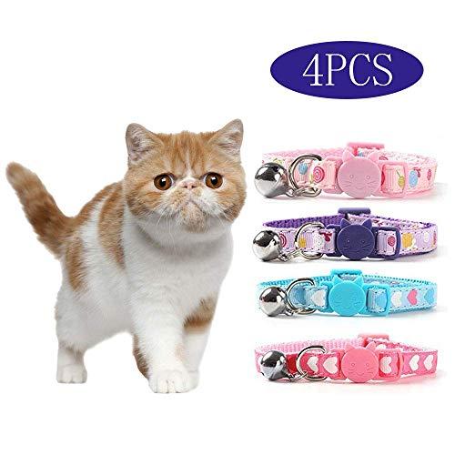 DAIXI 4PC Katzenhalsband , Bell einstellbares Katzenhalsband mit Schnalle Katzenglocke mit herzförmigem Nylonstreifen für Katzen, Welpen