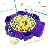 Symiu Juegos de Mesa Juguete de Pesca con 6 Caña de Pescar y 21 Peces Juguetes Musicales Juego Educativo Regalos para Niños 3 4 5 6 Años