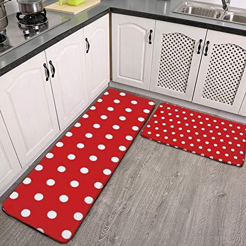 2-teiliges Küchenteppich-Set mit eleganten roten und weißen Punkten, saugfähig, rutschfest, weiche Fußmatte, Läufer, Teppich für Küche, Flur, Esszimmer, Waschküche