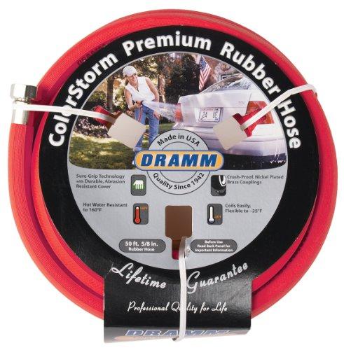 "Dramm 17001 ColorStorm Rubber Garden Hose, 5/8""x50', Red"
