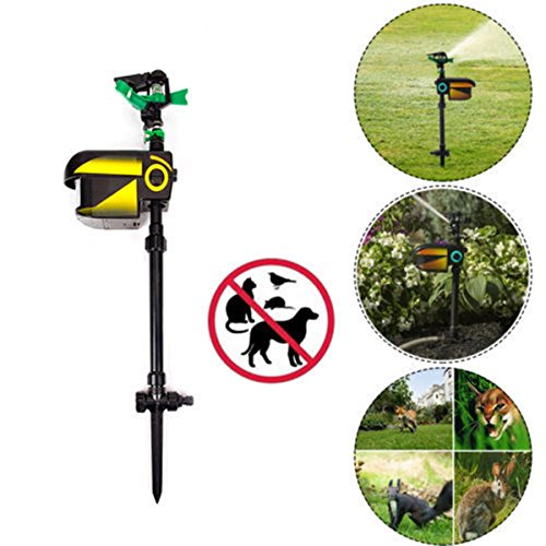 Wichai Shop Solar Scarecrow Powered Motion Activated Animal Repeller Garden Sprinkler Black...
