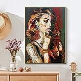 Bytfaa Carteles e Impresiones artísticos de Pared para Fumadores de Mujeres de Moda Impresos en Lienzo Pintura Imagen Moderna para Sala de Estar 60x90cm