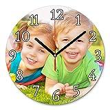 LaMAGLIERIA Reloj de Pared Personalizado con tu propria Foto - Reloj de Pared en Vidrio - Redondo Diámetro 30cm, Classic