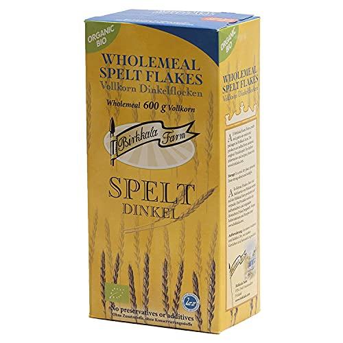 BIRKKALA Bio Vollkorn Dinkelflocken (600g x 6)   Geeignet für leckere Breie, Müslimischungen und Brötchen Teig   Bio & Kosher