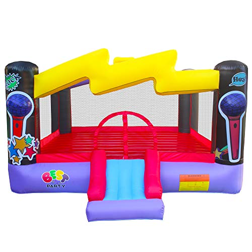 BESTPARTY Inflatable Bounce House with Blower Kids Pop Star Theme, Bouncy Slide & Huge Jumper Area, for Yard, Backyard Indoor Outdoor Birthday Party
