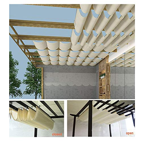 PENGFEI Retractable Pergola Canopy Shade Cover, Privacy Screen Anti-UV for Deck, Terrace, Gazebo, Courtyard Wave Roof Awning, Custom Size (Color : Beige, Size : 3X3M)
