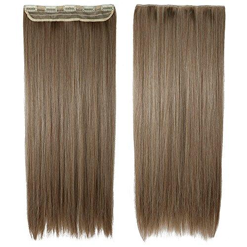 Haarteil Clip in Extensions 1 Tresse 5 Clips Haarverlängerung Human Hair wie Echthaar Glatt Aschbraun Mix Bleichblond 26