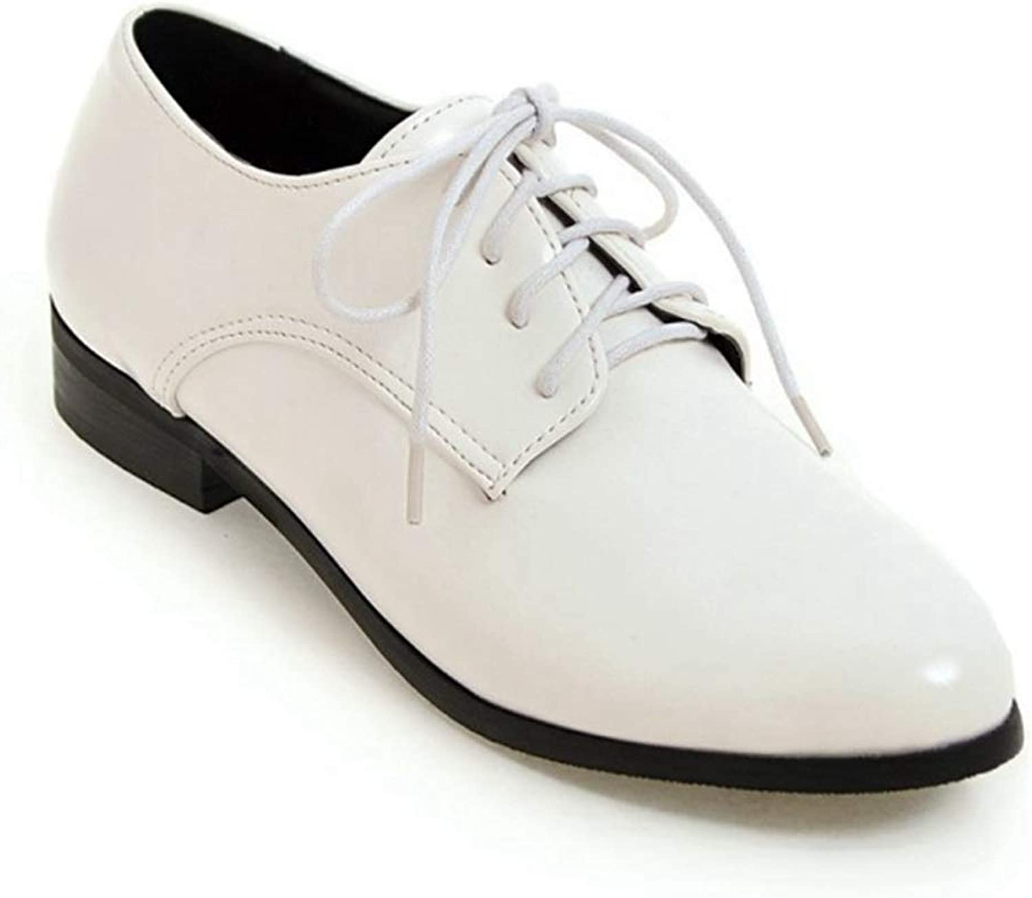 Elsa Wilcox Women Comfortable Pointy Toe Oxford Low Heel Vintage Oxfords shoes Perforated Lace-up Slip-On