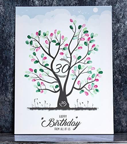 wedding-tree Cuadro de lienzo con diseño de árbol y huellas dactilares, regalo de cumpleaños redondo (45 x 60 cm, 30 años)