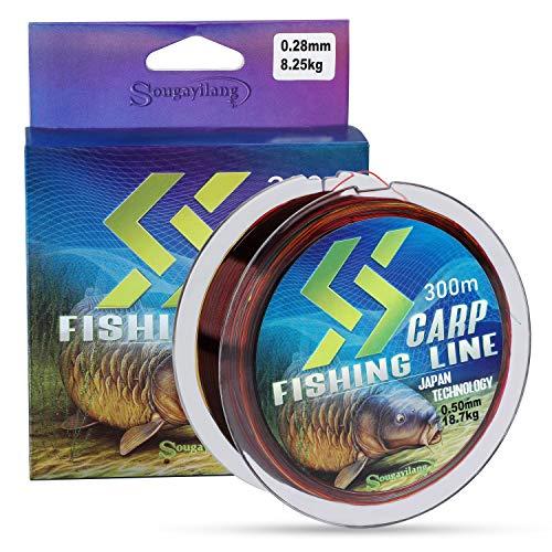 Sougayilang Ligne de pêche à la carpe, fil de pêche en nylon coloré 150 350 m, 4,5 à 18,6 kg, super lisse, résistant à l abrasion, matériau japonais, pour pêche en eau douce et en eau salée - 1550