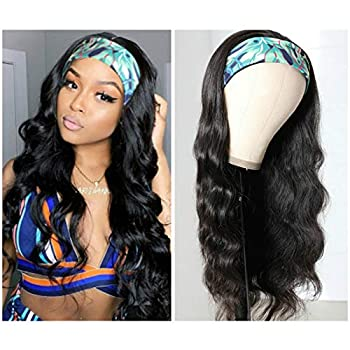 Headband Wigs for Black Women Body Wave Headband Wig Human Hair Wigs Brazilian Virgin Hair Machine Made Wigs Headband Wig 150% Density  18  Headband wigs