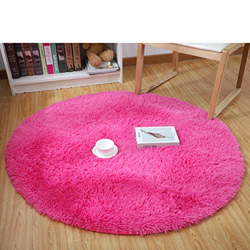 YJ.GWL High Pile Velvet Bedroom Living Room Rugs (4-Feet Round), Extra Soft Girls Room Nursery Carpet Shaggy Area Rug, Hot Pink