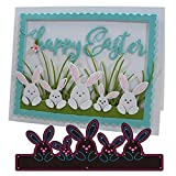 Easter Rabbit Family Metal Die Cuts, Easter Home Rabbit Bow Cutting Dies Cut Stencils for DIY Scrapbooking Album Decorative Embossing Paper Dies Card Making