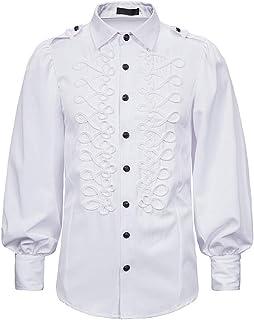 HJHK Camicia Uomo Regular Fit Camicia A Maniche Lunghe Ricamata per Il Tempo Libero Rinascimentale Steampunk Vittoriano Le...