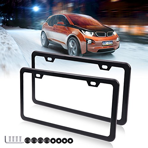 License Plate Frame Car Bottom License Plate Frames 2Pcs 2 Holes Black Licenses Plate Covers Replacement fit for US Vehicles