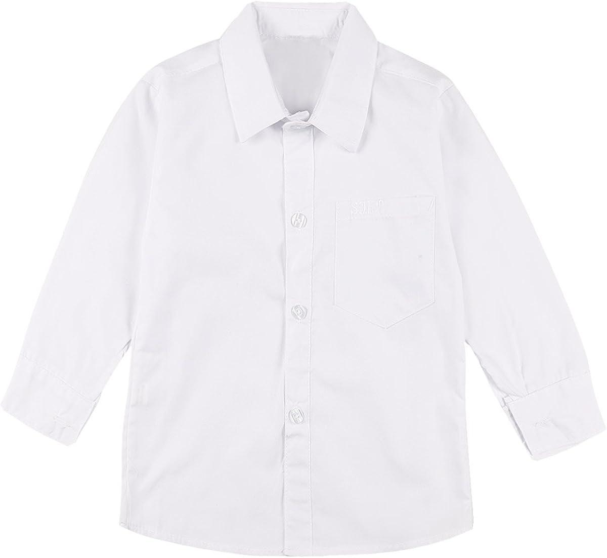 iiniim Kids Boy's School Uniform Long Sleeve Classic Solid Button-Down Oxford Shirt
