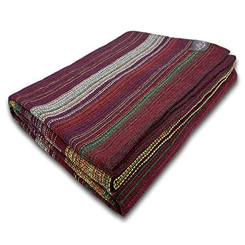 Craft Story Decke Fatima I violett-rot-grün-gelb gestreift aus 100prozent Baumwolle I Tagesdecke I Sofa-Decke I Überwurf I Picknickdecke I Nutz- und Schutzdecke I ca.170 x 220cm