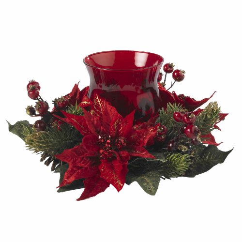 Nearly Natural 4920 Poinsettia and Berry Candleabrum, Red